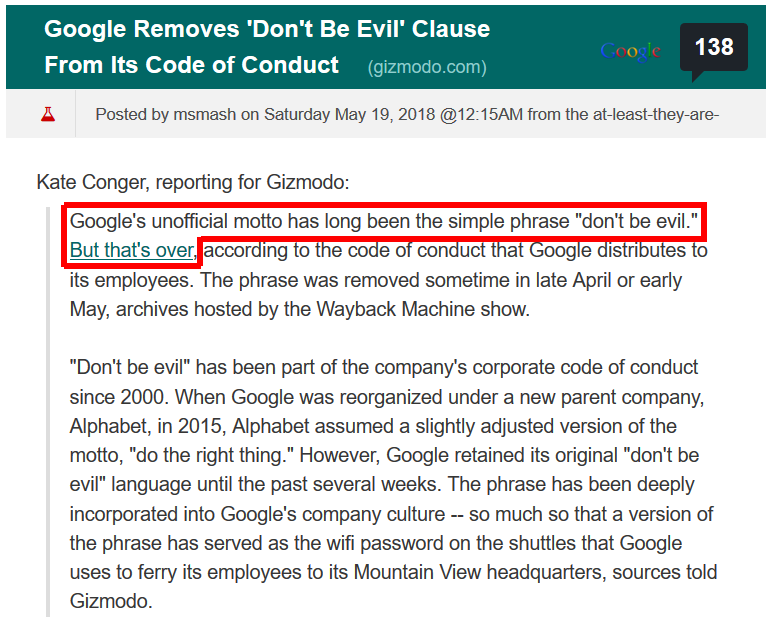 google removes dont be evil from code of conduct