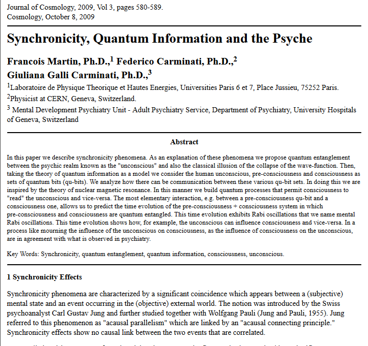 synchronicity academic article