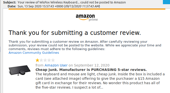 amazon review not published